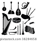 Music instruments set. Musical instrument signs 38284658
