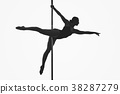 beautiful pole dancer girl silhouette 38287279
