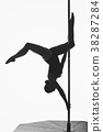 beautiful pole dancer girl silhouette 38287284