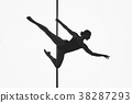 beautiful pole dancer girl silhouette 38287293
