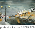otaru canal, night scape, night scene 38287326