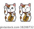 招財貓 小尺寸 一個橢圓形的金色或銀色的硬幣 38288732