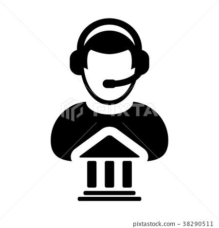 Service Icon Vector Bank Call Center Male Person 38290511