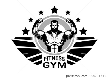 Fitness Club Or Gym Logo With Strong Athletic Man 38291340