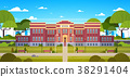 School Building And Empty Front Yard With Green 38291404