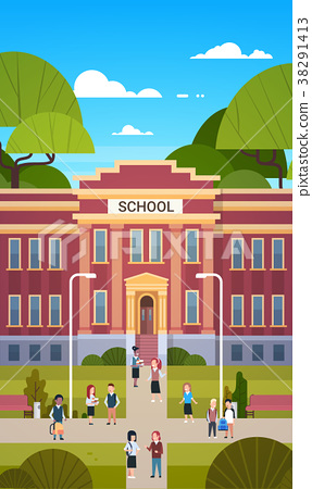 Schoolchildren Going To School Building Exterior 38291413