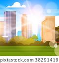 city, vector, sunlight 38291419