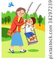 ผู้ปกครองและเด็กเล่นกับการแกว่ง 38297239