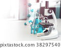 Microscope with lab glassware, flasks and colbas 38297540