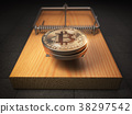 Bitcoin BTC coins in the mousetrap. Financial  38297542