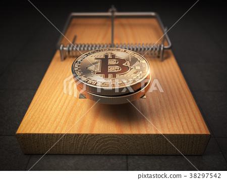 Bitcoin BTC coins in the mousetrap. Financial  38297542