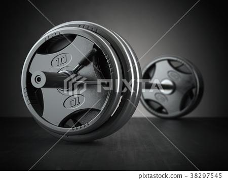 Barbell on floor in black background. Fitness 38297545
