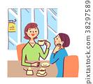 放鬆在咖啡店的婦女 38297589
