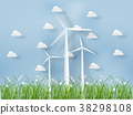 wind turbine with grass on nature background 38298108