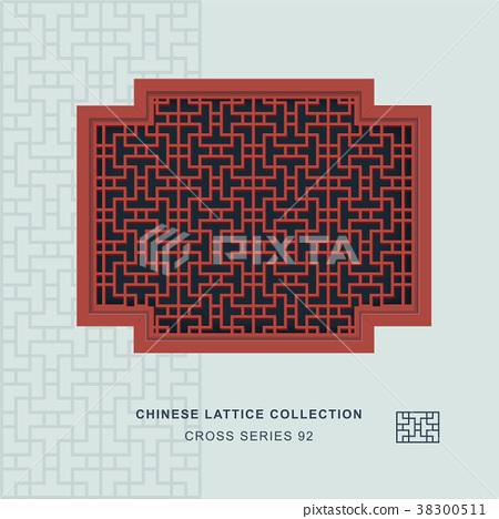 Chinese window tracery retro geometry frame 38300511