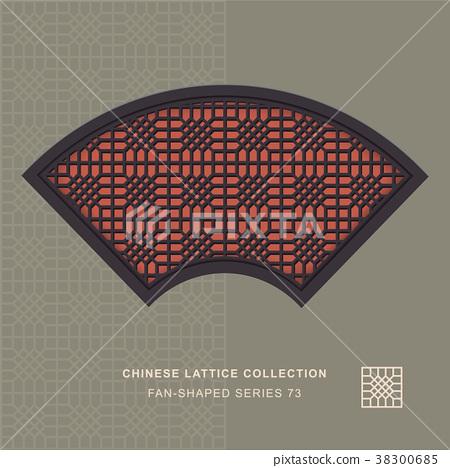 Chinese window tracery retro geometry frame 38300685