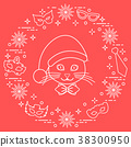 Muzzle of a cat in a Christmas hat and carnival 38300950