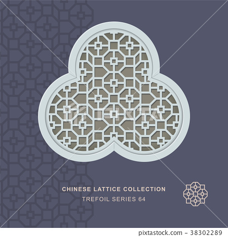 Chinese window tracery retro geometry frame 38302289