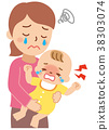 Crying baby and troubled mother 38303074