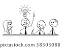 Cartoon of Business Team Meeting and Brainstorming 38303088