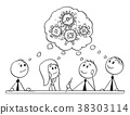 Cartoon of Business Team Meeting and Brainstorming 38303114