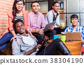 Group of diversity college students learning on 38304190