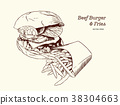 illustration of a burgerwith fries, vector drawing 38304663
