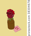 rose in vase ,  hand draw vector. 38304678