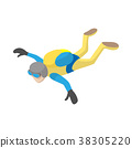 Skydiver in freefall icon, cartoon style 38305220