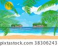 vector, beach, ocean 38306243