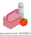 Pink lunch box, red apple and thermos icon 38306801