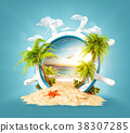 Tropical landscape in a helm 38307285