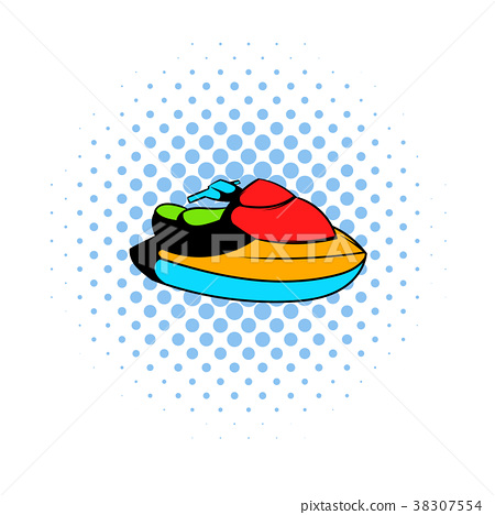 Jet ski water scooter icon, comics style 38307554