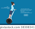 Young business woman on segway vector illustration 38308341