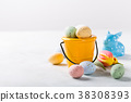 Easter composition with quail eggs and tulips 38308393