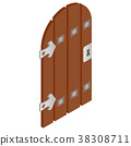 Wooden door with forged hinges icon 38308711