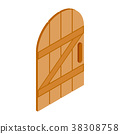 Arched wooden door icon, isometric 3d style 38308758