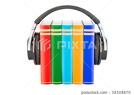 Books with headphones, audiobook concept 38308870