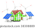 House with solar panels and wind turbines 38308889