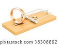 Mousetrap with wedding rings, 3D rendering 38308892