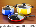 Set of cooking colored kitchen utensils 38308897