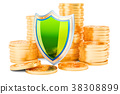 Stack of golden coins with shield, 3D rendering 38308899