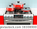 Steel gas cooker with pot, pan and frypan 38308900