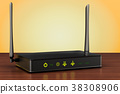 Wireless internet router on the wooden table 38308906