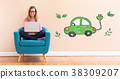 Electric Car with young woman using her laptop 38309207