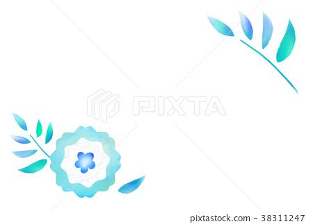藍色花例證簡單的明信片模板 38311247