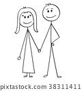 Cartoon of Happy Couple 38311411