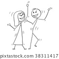 Cartoon of Disco Dancing Couple 38311417