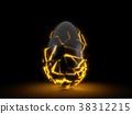 fractured black egg in the dark. 3d illustration. 38312215