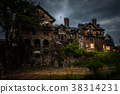 Abandoned house at night 38314231